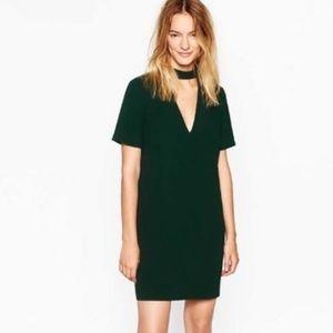 Zara NWOT green short sleeve V-neck dress